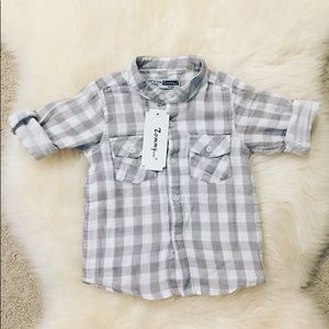 Other - Boys Grey Plaid Shirt